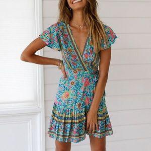 Bohemian Floral True Wrap Ruffled Mini Dress